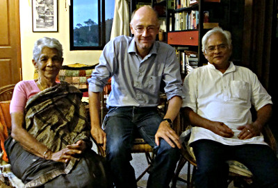 Heinz Gabathuler with Valli (left) and Chandru (right) in Bangalore, May 2015