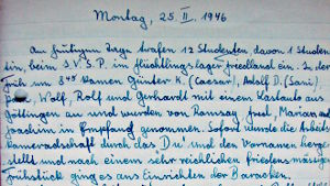 Page of Friedland work camp diary 1946