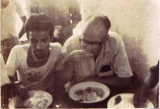 Faruque and Ralph Hegnauer havingLunch at the Blind School week-end camp at Dhaka (1966)