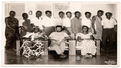 Max Hildesheim with chef du village and people Tové and the team of Volontaires aux Travailles, 1961 (Togo)